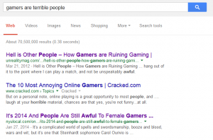 Google Search that shows 70 million results for gamers are terrible people